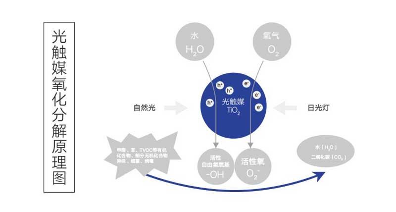 光触媒除甲醛技术将甲醛氧化分解成二氧化碳和水