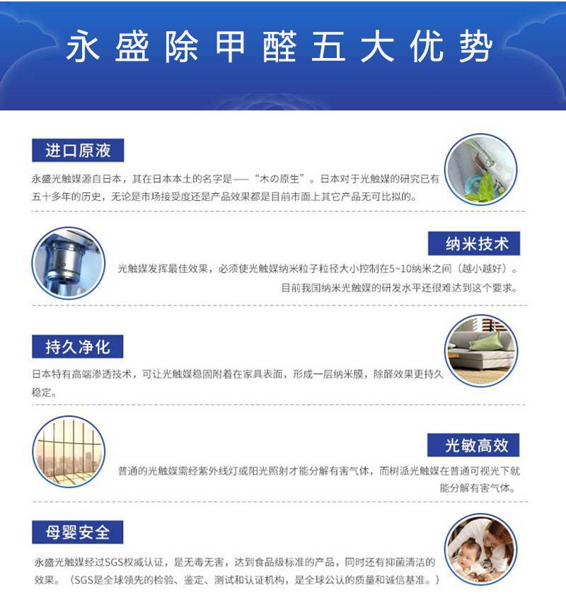 光触媒除甲醛技术具有五大优势:进口原液、纳米技术、持久净化、光敏高效、母婴安全